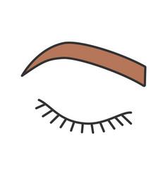 Closed woman eye color icon vector