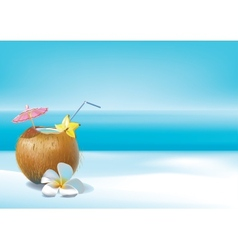 Coconut coctail on beach vector