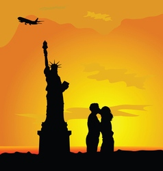 Couple with famous statue color vector