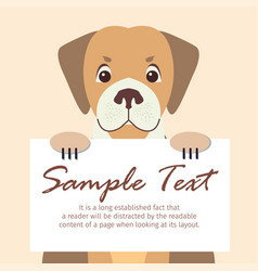 cute dog holding banner with sample text vector image