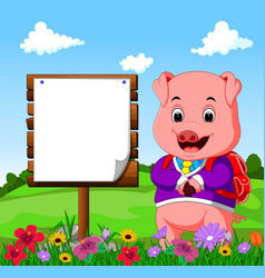 cute pig with wood sign cartoon vector image