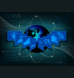 Dark blue background with the symbols of the vector