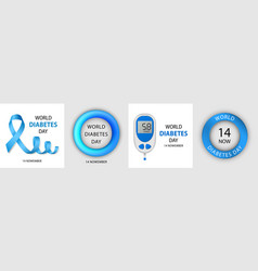 Diabetes day banner set realistic style vector