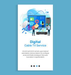 digital cable tv service television website slide vector image