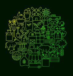 farming line icon circle concept vector image
