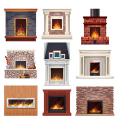 Fireplace and fire place wood home interior decor vector