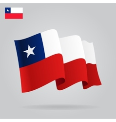 Flat and waving Chile Flag vector