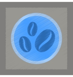 Flat shading style icon coffee beans logo vector