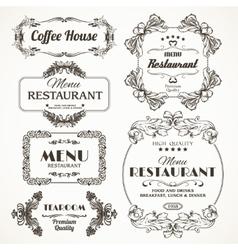 Floral restaurant frames vector image