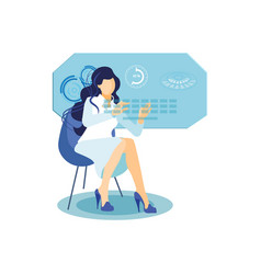 Girl with interactive display flat vector