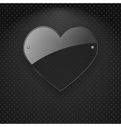 glass heart over metal background vector image