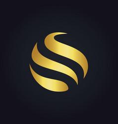 Gold round bio round logo vector