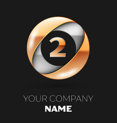 golden number two logo in the silver-golden circle vector image