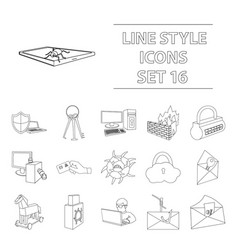 hackers and hacking set icons in outline style vector image