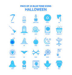 Halloween blue tone icon pack - 25 icon sets vector