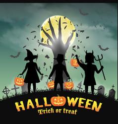 halloween kids in front devil hand in graveyard vector image