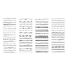 hand drawn lines ink pen drawn line underlining vector image