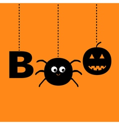 Hanging word BOO text with smiling sad black vector