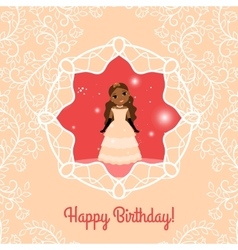 Happy Birthday red card with princess vector