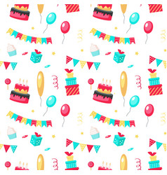 happy birthday seamless pattern with party vector image