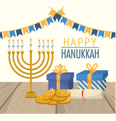 Happy hanukkah celebration with party flags vector