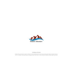 ice snow mountain hill with lake river creek logo vector image