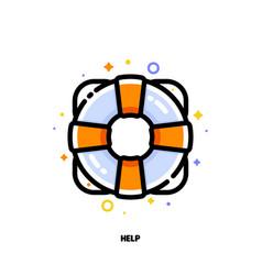 icon of lifebuoy for help and support concept vector image