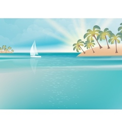 Island in turquoise water with yacht EPS 10 vector