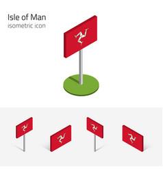 Isle man flag uk set 3d isometric icons vector