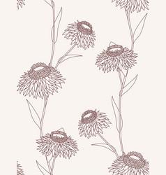 Linear flower seamless pattern on light background vector