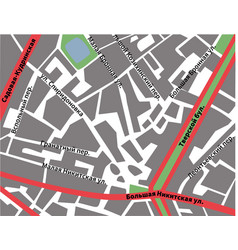 Map of patriarshie prudy moscow with roads and vector