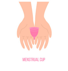 menstrual cup holding hands isolated zero waste vector image