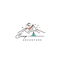 mountain adventure outdoor logo design vector image