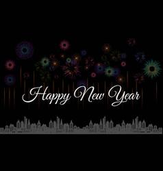 new year line design firework champagne gradient vector image
