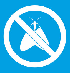 No moth sign icon white vector