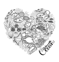 Ocean life in the shape of heart vector image