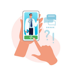 online consultation with a doctor reception at vector image