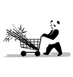 Panda in supermarket vector