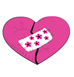pink broken heart with a patch vector image