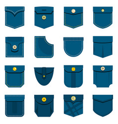 pocket types icons set in flat style vector image