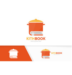pot and book logo combination kitchen and vector image