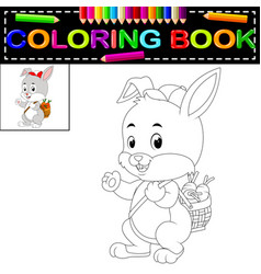 rabbit coloring book vector image