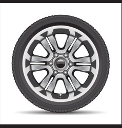 realistic car wheel alloy with black rubber vector image