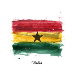 realistic watercolor painting flag ghana vector image
