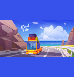 road trip summer vacation holidays travel car vector image