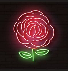 rose red glowing neon icon glowing sign logo vector image