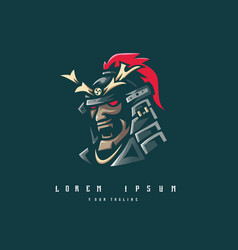 samurai logo design vector image