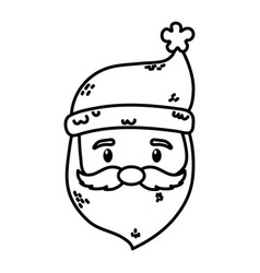 santa claus face character merry christmas thick vector image