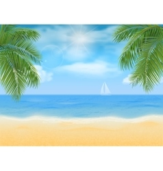 Sea beach and palm tree vector