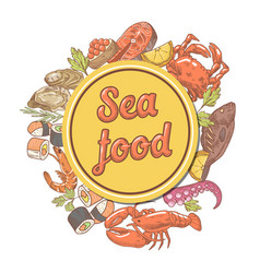 seafood design with fish crab and lobster vector image